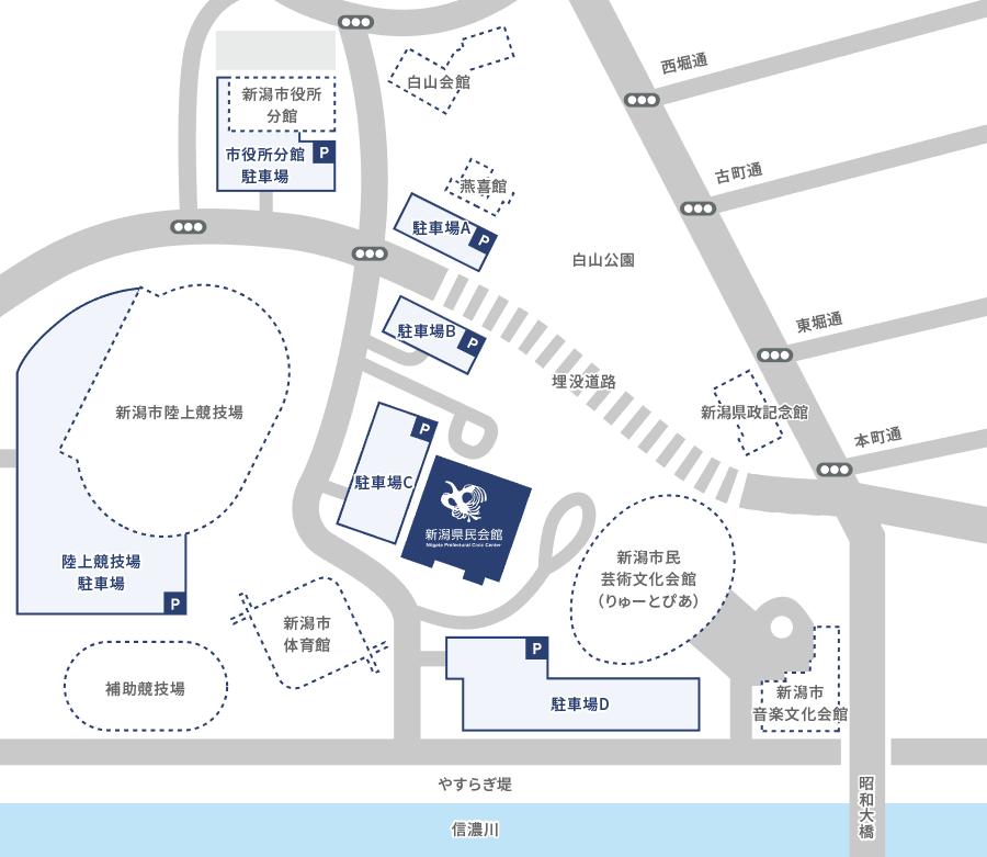 画像:白山公園周辺駐車場地図